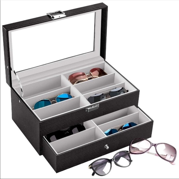 Carbon Fiber Sunglasses Organizer 12 Compartments